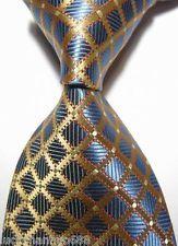 NEW Classic Checks Blue Gold Jacquard Woven 100 Silk MEN'S TIE Necktie | eBay