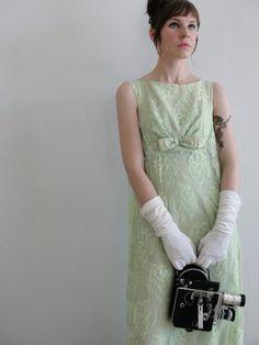 A classic vintage tea length wedding dress from VeraVague shop on etsy.