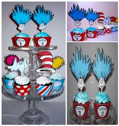 Dr. Seuss Cupcake toppers #cake #party