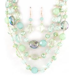 Crystal Nora Necklace in Mint on Emma Stine Limited