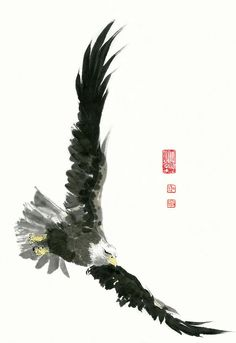 Eagle - 29 Painting by River Han Fly Drawing, Eagle Drawing, Eagle Painting, Ink Painting, Eagle Artwork, Eagle In Flight, Eagle Pictures, Arte Robot, Japanese Drawings