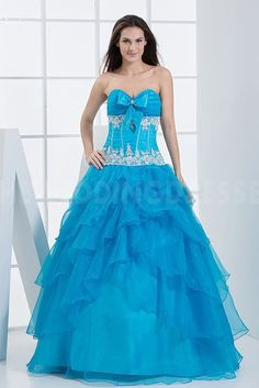 Blue Organza Strapless Ball Dresses - Order Link: http://www.theweddingdresses.com/blue-organza-strapless-ball-dresses-twdn4127.html - Embellishments: Beading; Length: Floor Length; Fabric: Organza; Waist: Natural - Price: 170.0383USD