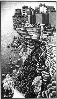 Escher - Bonifacio, Corsica,October 1928 Woodcut Another beautiful textured piece.