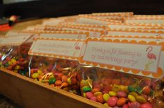 custom M&Ms and Avery Labels for party favors
