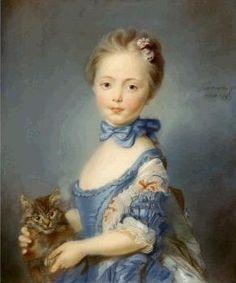 Girl with Kitten by Jean-Baptiste Perronneau, 18th century.