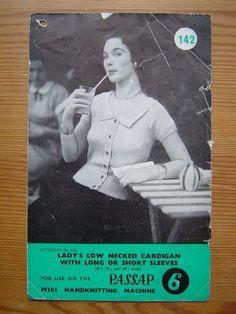 § PASSAP M201: LADY'S LOW NECKED CARDIGAN - Machine Knitting Pattern