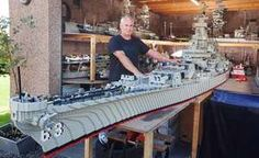 Man spent three years building 'world's biggest' Lego model of warship USS MISSOURI Missouri, Bateau Lego, Lego Boat, Big Lego, Lego Army, Lego Ww2, Lego Ship, Amazing Lego Creations, Modern Kitchens