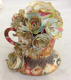 snips n scraps of me: Tutorial: Paper Teacups Filled with Flowers...Makes a Cute Mother's Day Gift
