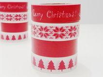 4 Tapes Weihnachten Merry Christmas-Rot-Tannenbaum