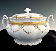 Antique cracker jar hearts gold MZ Austria porcelain from Victoria's Curio on Ruby Lane