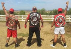 """Better watch out they are not thrown out of Australia under new laws"""" NT police are monitoring a newly established chapter of the Mongrel Mob, who have been pictured partying and wearing the … Biker Clubs, Motorcycle Clubs, Sons Of Anarchy Cast, Mongrel, Red Vs Blue, New Law, Gangsters, Vintage Bikes, Darwin"""