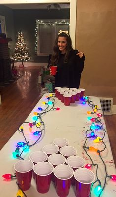 Making the beer pong table festive. : Making the beer pong table festive. Christmas Pajama Party, Tacky Christmas Party, Christmas Birthday Party, Family Christmas, Christmas Party Ideas For Adults, Xmas Party Ideas, Christmas Drinking Games, Christmas Lights, Christmas Jello Shots