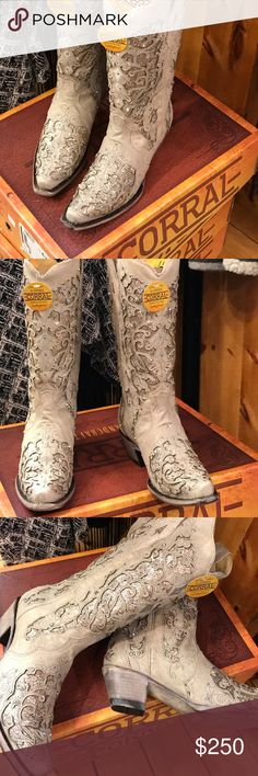 Corral cowboy boots The boot of the year! Stunning off white with crystals galore. She would be a good choice for a country wedding. I only have these sizes so please respect I can't order more at this price. corral Shoes Heeled Boots