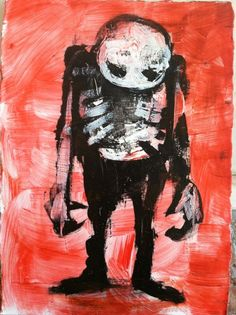 "zombie art,   Acrylic original  ,ACEO  jack larson 3.5""x2.5"" #Abstract"