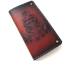 Sunburst Anchor Mens Wallet. Put initials and a year on it for personalization. #navy #sailor http://sanfilippoleather.com/sunburst-anchor-wallet/