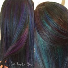 Oil slick hair. Galaxy hair. Peacock hair. Jewel tone hair. Purple hair. Blue hair. Green hair.