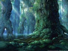 """Princess Mononoke もののけ姫"" by 山本二三 Nizō Yamamoto* © Studio Ghibli* Hayao Miyazaki, Fantasy Landscape, Fantasy Art, Fantasy Trees, Comic Wallpaper, Mononoke Forest, Anime Plus, Animation Background, Environment Concept Art"