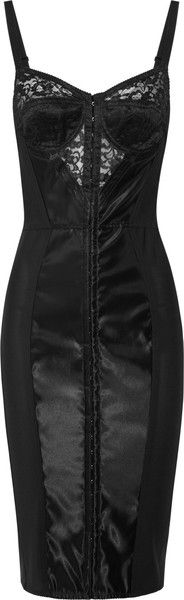 Lace and Satin Bustier Dress - Lyst