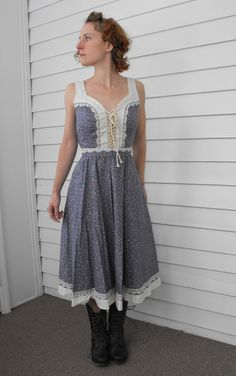 Vintage Gunne Sax Dress Purple Floral Print Summer Sun by soulrust, $89.99
