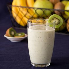 """""""Pear Kiwi Banana Smoothie"""" -  I consider this t/b a Healthy Food, yes - but with the taste, it seems more like a Dessert ♥ #SmoothieDessert  #PEARS"""