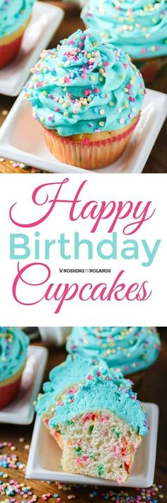 Happy Birthday Cupcakes from Noshing With The Nolands are deliciously moist vanilla cupcakes with sprinkles, topped with buttercream frosting. These are sure to bring a smile to everyone's face!
