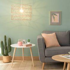 Jade green wicker pendant D 45 cm ELVA Mint Living Rooms, Pastel Living Room, Colourful Living Room, Living Room Green, Living Room Paint, Living Room Colors, Living Room Interior, Home Living Room, Living Room Designs