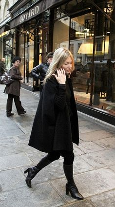 Kate Moss in black #style #fashion