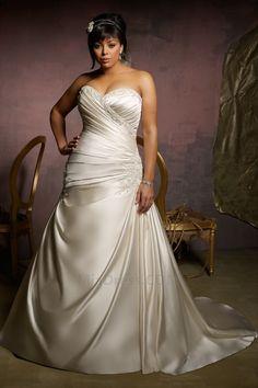 Grandes Tailles Automne Elégant & Luxueux Long A-ligne Col en Cœur Robe de Mariée