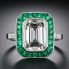 3.00 Carat Emerald Cut Diamond and Emerald Ring