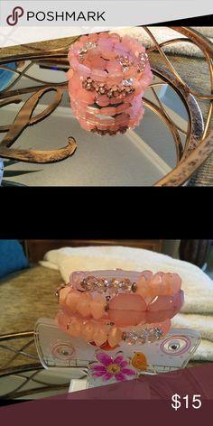 Pink Bead Wire Stretch bracelet Gorgeous Pink & Clear Bead Costume Bracelet.  Never Worn Jewelry Bracelets