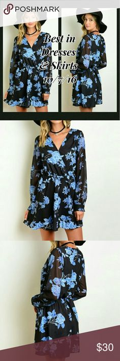 🎉BOGO 50% OFF🎉Floral Print Dress This dress has a gathered waist and features a beautiful blue floral print, sheer long sleeves and v-neckline.   🎉Host Pick Best In Dresses & Skirts  10/07/16!🎉  🔹If unsure of size, just ask and I can provide measurements!  Material: 100% polyester  🚫No trades🚫  ✔Reasonable offers considered. (Item #45) Dresses Long Sleeve