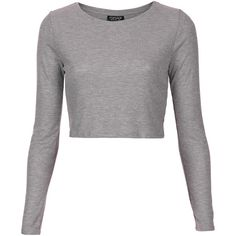 TOPSHOP Long Sleeve Ribbed Top ($16) ❤ liked on Polyvore featuring tops, shirts, crop tops, blusas, topshop, grey, longsleeve shirt, grey top, long sleeve shirts и crop top