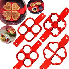 Lanyani Silicone Perfect Pancakes Mold Nonstick Egg Ring Maker Breakfast Pancake Shaper – Round and Heart shape, flower and oval (Heart and Oval) - Food Cream Cheese Pancakes, No Egg Pancakes, Pancakes Easy, Breakfast Pancakes, Pancake Maker, Egg Rings, Egg Molds, Pancakes From Scratch, Baking