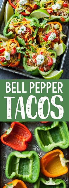 Take taco night to the next level with these Baked Bell Pepper Tacos! With instructions for vegan, vegetarian, and paleo options, these peppers are ready to transform your typical taco fare with a clean-eating twist! #tacos #tacotuesday #taconight #bellpeppers #stuffedpeppers #vegetarian #healthy #glutenfree