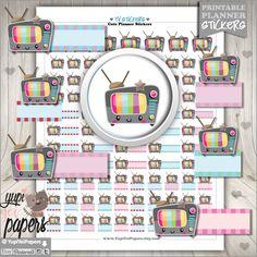 TV Stickers, Planner Stickers, Printable Planner Stickers, Television Stickers, TV Label, Kawaii Stickers, Erin Condren, Planner Accessories