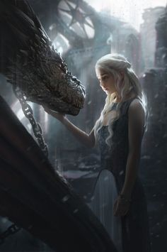 Beautiful Game of Thrones Season 5 Scene of Daenerys and Drogon Digital Artwork by G-host Lee