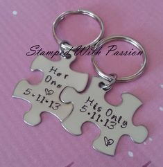 His and Her Puzzle Piece Keychain Set With Date - Couples -Wedding -Anniversary Key chain on Etsy, $29.99