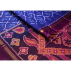 A rich blue with #beautiful #Ikat #designs, and an equally #maroon pallu. The floral designs are #exceptional!