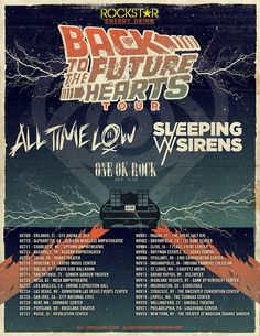 "NEWS: The pop-punk band, All Time Low, have announced a U.S. co-headline tour with Sleeping With Sirens, called the ""Back To The Future Hearts Tour."" The tour is in support of All Time Low's sixth album, Future Hearts. Select dates will feature ONE OK ROCK, as support. You can check out the dates and details at http://digtb.us/1J32GjP"