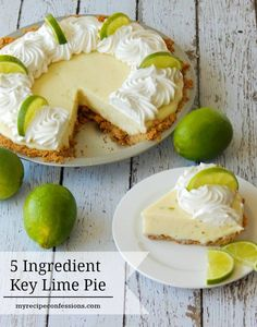 5 Ingredient Key Lime Pie I love this pie recipe It is so easy It beats out all the other easy dessert because it tastes like it took you all day to make it It is so rich. Key Lime Desserts, Mini Desserts, Easy Desserts, Lime Dessert Recipes Easy, Easy Pie Recipes, Lemon Desserts, Coconut Dessert, Oreo Dessert, Brownie Desserts