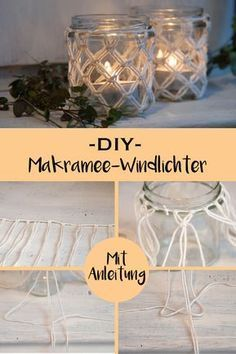 DIY macrame lanterns – with step-by-step instructions – www.de The post DIY macrame lanterns with step-by-step instructions appeared first on Woman Casual. Pot Mason Diy, Mason Jar Crafts, Mason Jars, Ideias Diy, Floating Shelves Diy, Glass Shelves, Diy Décoration, Easy Diy, Diy Home Decor Projects