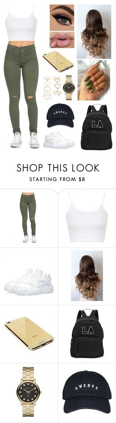 """""""Untitled #435"""" by aysuyucel ❤ liked on Polyvore featuring Topshop, NIKE, Goldgenie, Joshua's, Marc by Marc Jacobs and Forever 21"""