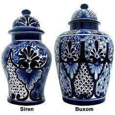 Talavera Jars & Vases Collection - Talavera Ginger Jar - TGJ110 Talavera Pottery, Ceramic Pottery, Ceramic Vase, Southwestern Decorating, Blue Pottery, Blue China, Ginger Jars, Chinoiserie, White Porcelain