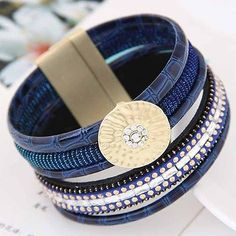 HAHA Women Charm Multilayer Bracelet Leather Magnetic Buckle Bangle Cuff Jewelry