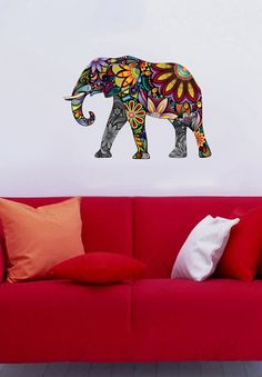 Floral Elephant multicolor  Full Color Wall Decal by uBerDecals