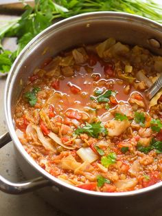 Quinoa and Lentil Cabbage Roll Soup