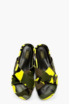 VALENTINO YELLOW CAMO Cross-STRAP SANDALS
