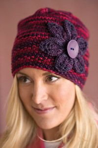 Boysenberry Bloom #Hat - Rich, juicy colors and a sweet springtime flower make this soft hat a wonderful pattern to #knit.