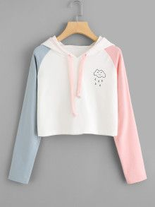Color Block Women Crop Hoodie Sweatshirts Teens Pullover Streetwear Spring Autumn Long Sleeve Hoody Shirts Blouse 90117 WH S Girls Fashion Clothes, Teen Fashion Outfits, Casual Outfits, Fashion Women, Clothes For Girls, Clothes Sale, Fashion Styles, Casual Dresses, Girl Outfits
