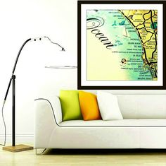CALIFORNIA Map Art Pictorial Print SAN DIEGO by VintageBeachMaps, $44.00